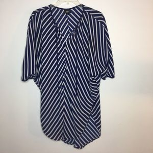 Blue and White Diagonal Striped Top Tunic